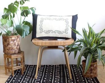 Linen Pillow Cover, Black and White Lumbar Pillow, Antique Linen, Farmhouse Pillows, Rustic Home Decor, 15x25, Boho Modern, Bohemian Decor