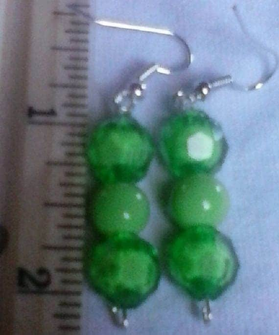 Green Round and Faceted Drop Earrings
