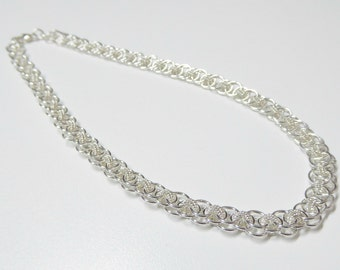 Sterling silver chain necklace,sterling silver chain mail necklace,sterling silver necklace,helm weave link chain mail necklace