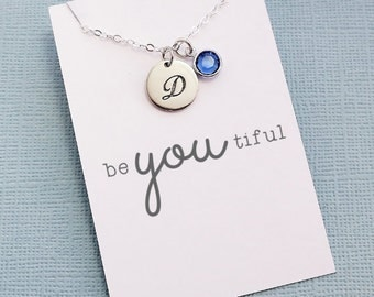 Personalized Initial Birthstone Necklace | Monogram Disc Charm, Personalized Jewelry, Cursive Initial, Letter, Crystal | Silver | X03