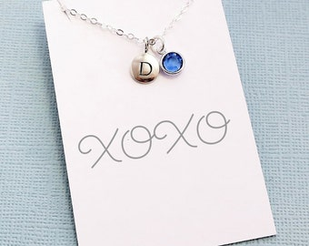 Initial Birthstone Necklace | Birthday Gift, Personalized Jewelry, Monogram, Crystal, Letter, Best Friend Gift | Gold or Silver | X06