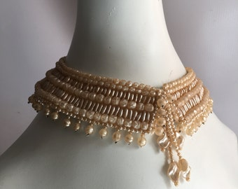 Necklace Vintage 1950s Beaded Collar Faux Pearl Ivory Creamy Textured Pearl Shell Beads  Made in Japan