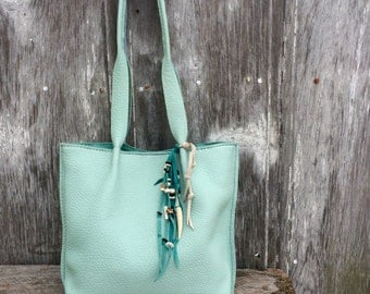 Sea Foam Leather Rustic Mini Tote Bag by Stacy Leigh
