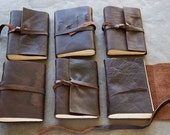 5x7 - Rugged Character - Leather Journal or Sketchbook - Initials Optional