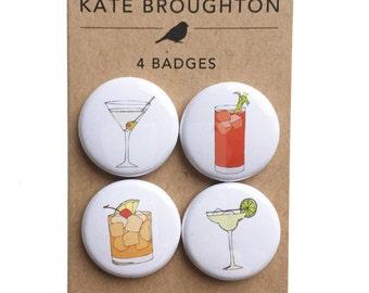 cocktail badges / set of four pins