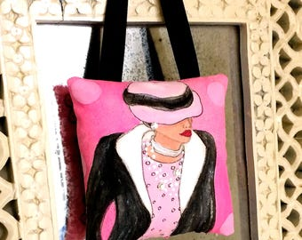 new..GABRIELLE HANGING PILLOW, hand painted pillow, decorative pillow, Paris, French fashion, Chanel, rose pink, fashionista, woman gift