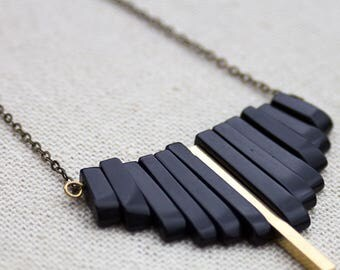 Black onyx and gold bar statement necklace, Aztec necklace, gold bar necklace, boho necklace, gift for her, graduation gift