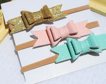 Baby Girl Headband Bows - Nylon Headband Set - 3 Stitched Faux Leather Bow - Blush Pink, Aqua, Gold Headband for Infant - Tiny Baby Bow Pack