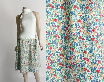 Vintage 1970s Floral Wrap Skirt - Bright Colorful Rainbow Flower Print Knee Length Wrap Skirt - Small Medium