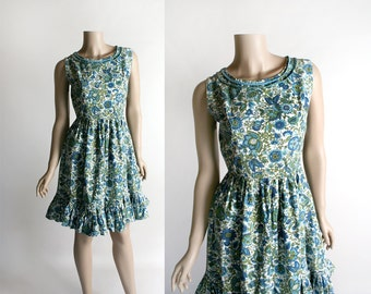 Vintage 1960s Dress - Floral Print Aqua Blue and Mint Green Flower Print Cotton Dress - Ruffle Hem - Small