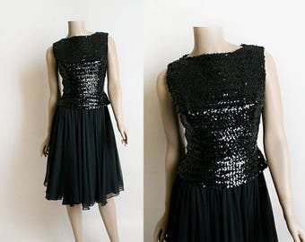 Vintage 1960s Sequin Chiffon Dress and Top - Two Piece Separates - Little Black Dress - Sequined Party Dress - XS Small