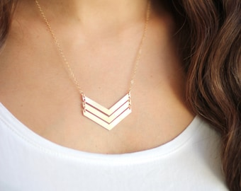 Triple V Arrow Necklace - Brass | Stainless Steel | 14k Gold Filled | Sterling Silver