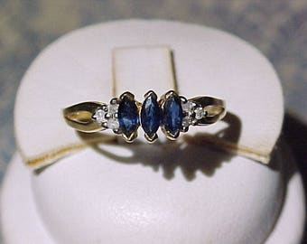 3 Marquee Sapphire and Diamond Ring 10k Gold
