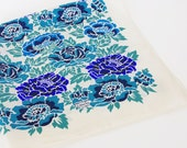 Liberty of London Vintage Asian Inspired Blue Floral Silk Hand Rolled Edge Scarf
