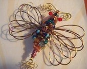Sale! A Beaded Fluttering Dragonfly!  Twisted Dragonfly Suncatcher - number 109283 - one of a kind!