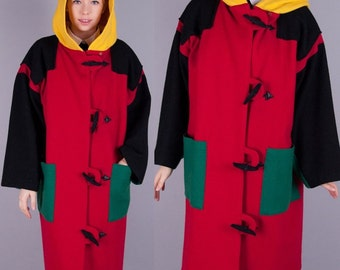 Jean Charles JC de Castelbajac Vintage 1980s Vtg 80s COLOR BLOCK Wool Coat / Jacket Hood Hoodie s/m/l/xl large
