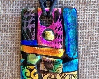 Fused glass mosaic pendant, dichroic glass, ooak