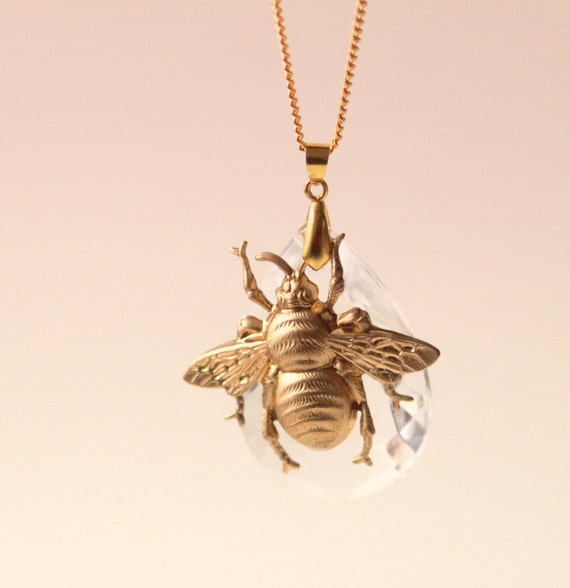 Bee and crystal pendant, Unique statement necklace, Gold chain and vintage glass prism, Golden bee pendant