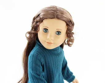 Fits like American Girl Doll Clothes - Cuffed Sweater in Teal, Made To Order