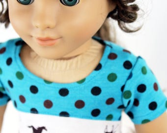 Fits like American Girl Doll Clothes - Teal and Horses Tri-City Dress, Made To Order