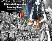Grayscale - Printable Coloring Book - Set #1 - Myka Jelina Art - Fairy Coloring Book - Fantasy Coloring Pages - Digital Download - 15 Images