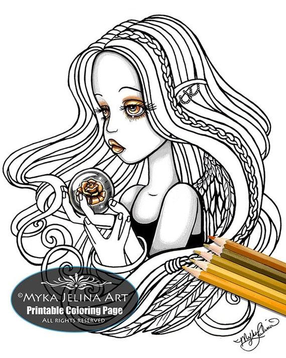 Seika rose angel digital download coloring page myka jelina for Myka jelina coloring pages