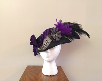 Purple Pirate Hat Gothic black and silver Ready To Ship