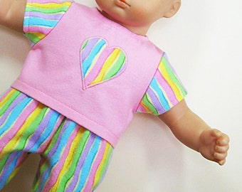 Bitty or Twin Doll Clothes - Multi Colors Stripe Print Pajamas with Heart Applique