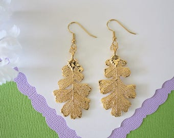 Gold Oak Leaf Earrings, Lacey Oak Leaf, Real Leaf Earrings , Oak Leaf, 24kt Gold, Nature, LESM167