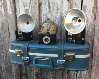 Vintage 1970s Era Blue  Upcycled Suitcase with Buckles Luggage Repurposed Travel Inspired Wall Shelf