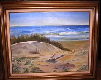 Oil Painting Texas Seashore retro 1980's Texana original artwork 1982 Galveston Island Beach , Surf  Waves, Sea Gulls, nautical seascape 51G