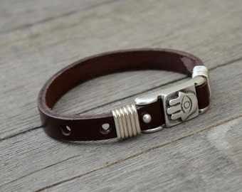 Handmade Leather Hamsa Protection Bracelet for Men and Women