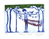 etching, Almost Flying, blue, girl, birds, printmaking, romance, gift for her, home interior, trees, forest, country style, woodlands, pink