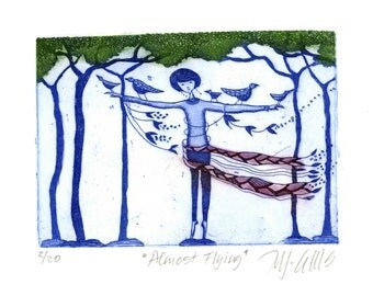 etching, Almost Flying, blue, girl, birds, printmaking, gift for her, home interior, trees, forest, woodlands
