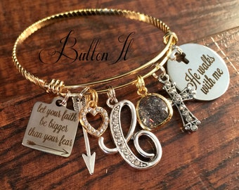 FAITH bracelet, BAPTISM gift, Christian jewelry, Gold Bangle charm bracelet, Inspirational jewelry, He walks with me, Arrow, birthday gift