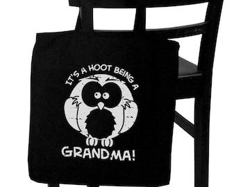 it's a hoot being a grandma, owl tote bag, screenprint canvas tote bag