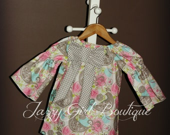 Girls Paisley Peasant Dress with Polka Dot Bow Accent  Sizes 12mo through 12 years