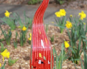 Cherry Red Large Glass Leaf Garden Art Sculpture Outdoor Decoration Garden Finial