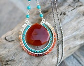 Carnelian, Turquoise, Mexican Fire Opal Gemstone, Multi Gemstone Wire Wrapped Double Circle Pendant, Statement Sterling Silver Necklace