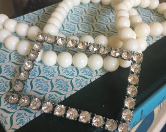 Vintage Buckle Rhinestone Beaded One of a kind Statement Necklace Jewelry Frame