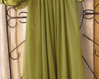 Vintage Green Sheer Dressing Boudoir Robe Peignoir Small Lace Satin 1960's Jenelle Of California Free US Shipping