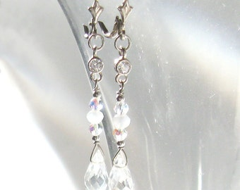 Cz and Crystal Long Earrings, Ice Briolettes, Aurora Borealis Crystals Sterling Silver