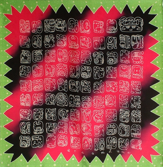 Unique Mayan glyphs square luxury hand painted silk scarf
