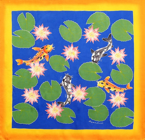 Silk Scarf Handpainted, Koi fish Scarf, Batik scarf, Scarf hand made, Lotus pond scarf, Unique scarf, Silk neck scarf, Square scarf