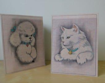 Vintage Unframed Poodle and White Cat Hand Colored Artwork - Set of 2