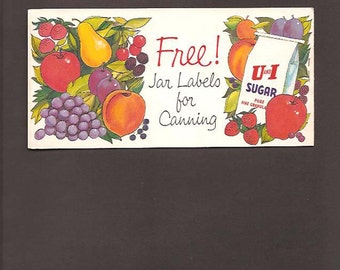 Jar Labels For Canning by U and I Sugar – Vintage Advertising and Recipe Booklet c. 1960 - Home Canning and Preserving