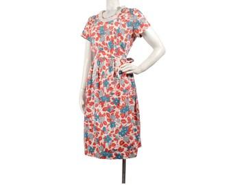 Vintage 40s Dress - 40s Day Dress - 40s Cotton Dress - 40s House Dress - 40s Floral Dress - Red Green Gray - Cotton Day Dress - L XL
