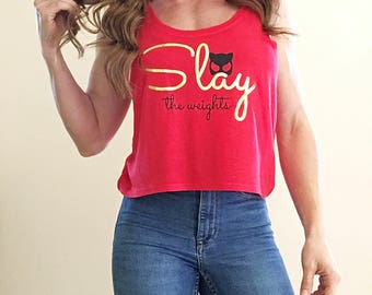 Slay The Weights Motivational Fitness Crop Top in Cherry Red with Gold Foil
