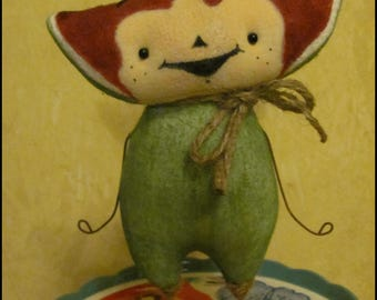 Anthropomorphic watermelon Doll Food Farmhouse garden  Whimsical cottage chic kitchen shabby primitive creepy cute country decor Farm Quirky