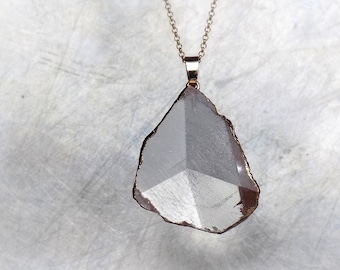 Druzy crystal quartz necklace, pointed geometrical gold plated pendant on vermeil gold chain, modern boho necklace, natural quartz gemstone